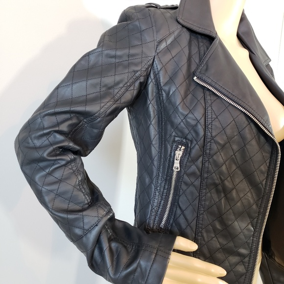 Decree Jackets & Blazers - LIKE NEW! Decree Faux Leather Moto Quilted Jacket